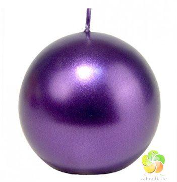 Svíčka - Koule Metal 56mm tmavě fialová (22467)