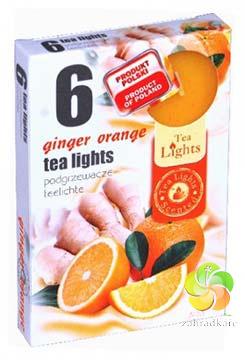 Svíčka čajová 6ks Ginger orange vonné