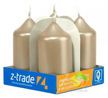 Svíčka adventní 40x75 béžovošedá metal 4ks (23157)