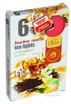 Svíčka čajová 6ks Bourbon Vanilla vonná (22584)
