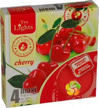 Svíčka čajová MAXI 4 ks Cherry vonná (20624)