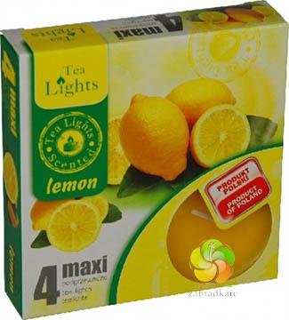 Svíčka čajová MAXI 4 ks Lemon vonná (20810)