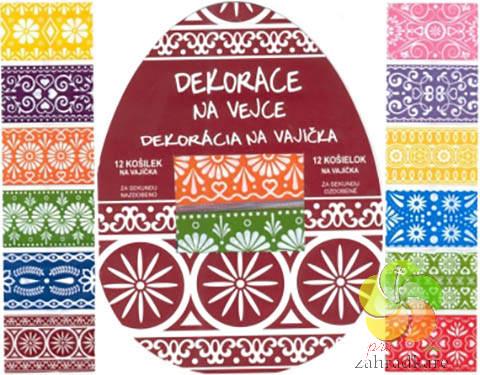 Smršťovací dekorace na vejce ornamenty barevné, 12ks v balení