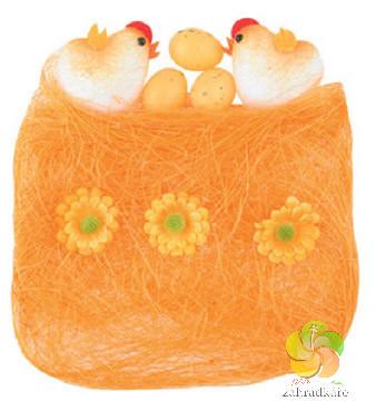 Sisal s dekoracemi oranžový 13 x 12 cm - velikonoční dekorace