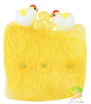 Sisal s dekoracemi žlutý 13 x 12 cm - velikonoční dekorace