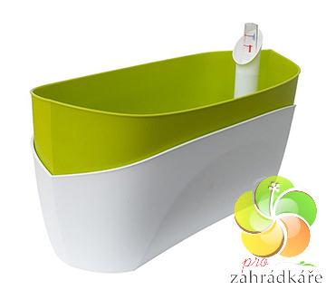 Květináč samozavlažovací Doppio světle zelená + bílá D 38 x Š 16 x V 16,5 cm