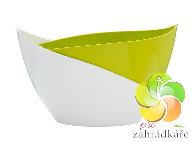 Květináč samozavlažovací Doppio 14 světle zelená + bílá D 21,5 x Š 14 x V 13 cm
