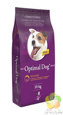 OPTIMAL DOG WITH BEEF - KOMPLETNÍ KRMIVO PRO PSY S NORMÁLNÍ ZÁTĚŽÍ S PŘÍDAVKEM HOVĚZÍHO MASA 10 kg
