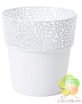 Obal na květiny ROSA bílá- průměr 11,5 cm , výška 12,5 cm