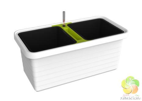 Truhlík samozavlažovací Berberis DUO bílá (zelený příčník) D 78 x +S 39 x V 35 cm