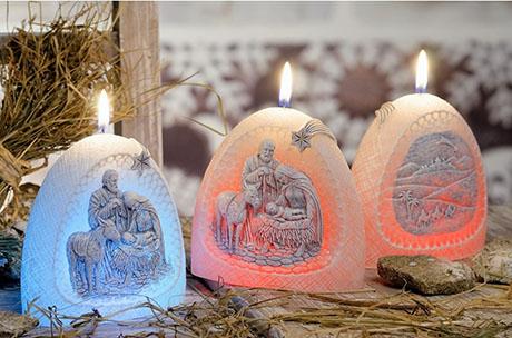 Svíčka Christmas Night s diodou - Betlém