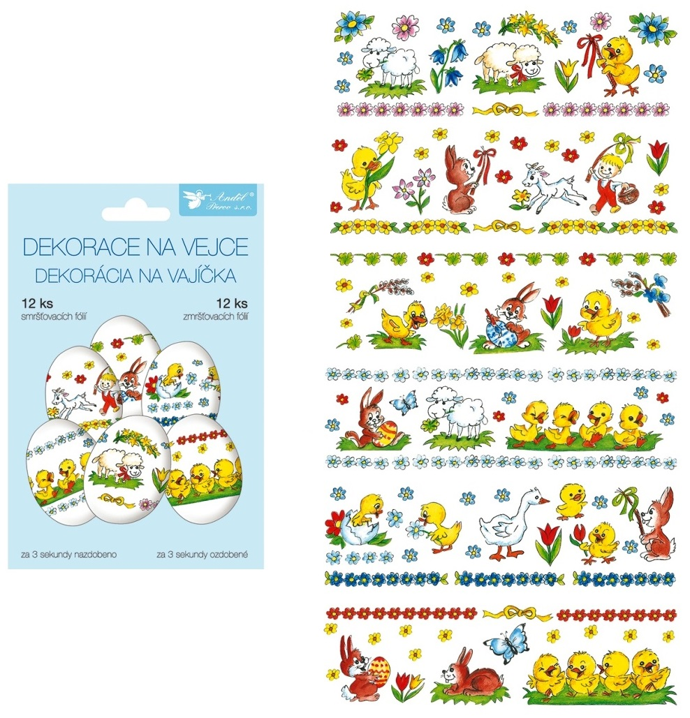 Smršťovací dekorace na vejce tradiční motivy, 12 ks