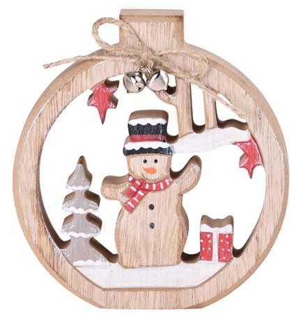 Dřevěná dekorace 120x110x20mm Sněhulák