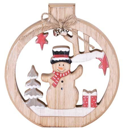 Dřevěná dekorace 180x170x20mm Sněhulák
